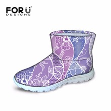 FORUDESIGNS Winter Platform Classic Boots for Women Cute Flower Quilted Fur Warm Snow Boots Female Ankle Snow Boots Plus Size