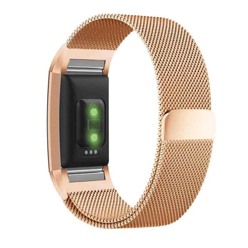 Milanese mıknatıs kayışı Fitbit şarj için 2 saat kayışı Metal bilezik şarj 3 yeni yedek spor spor saat kordonları