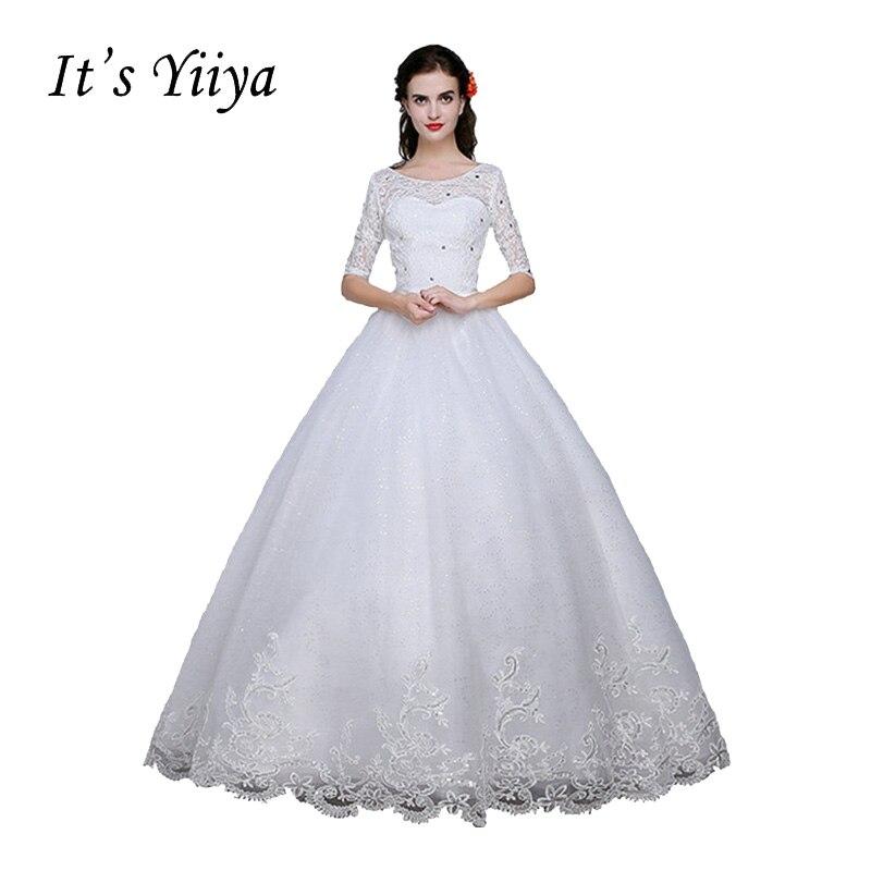 இEnvío libre calidad o-cuello media mangas boda blanco vestido de ...