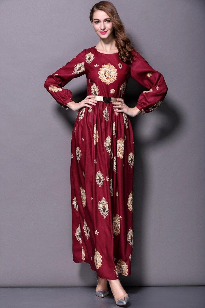 Vestito 2016 Primavera Estate vestito delle donne per la signora Nuovo Disegno di Modo delle Donne del Vestito Maxi Manica Lunga Partito Stampato vestito lungo i telai - 2