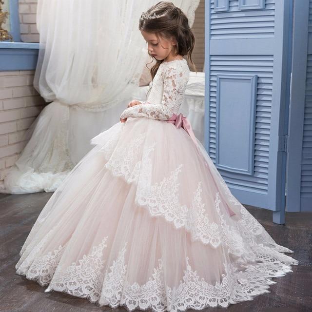 Baby Girl Wedding Braidal Dress Kids Brand Clothing Girl Dresses Kids Long Evening  Dress Designs for Teenager Ball Gown Vestidos 18d620660eca