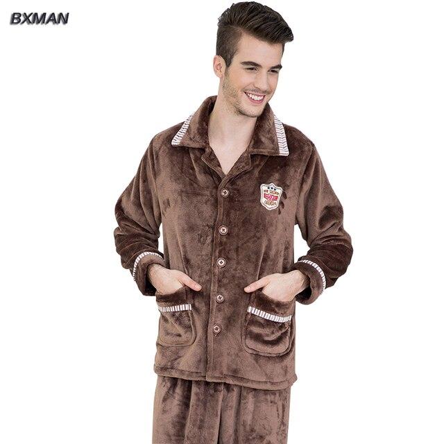 BXMAN Brand Men's Winter Pijamas Hombre Modern Solid Pajamas Polyester Turn-down Collar Full Sleeve Flannel Pajamas 37