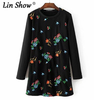 LINSHOW Europe And The United States Floral Embroidery Black Long Sleeve Dresses O Neck Mini Rockabilly