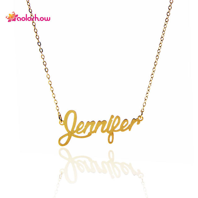 Online shop aoloshow name letter necklace jennifer for women aoloshow name letter necklace jennifer for women necklace stainless steel pendant gold color personalized necklace nl 2443 aloadofball Gallery