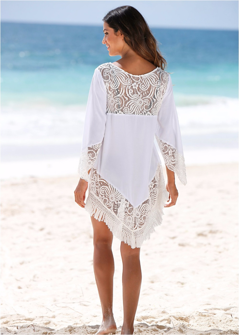 women beach dress tassel lace patchwork knee length shirt