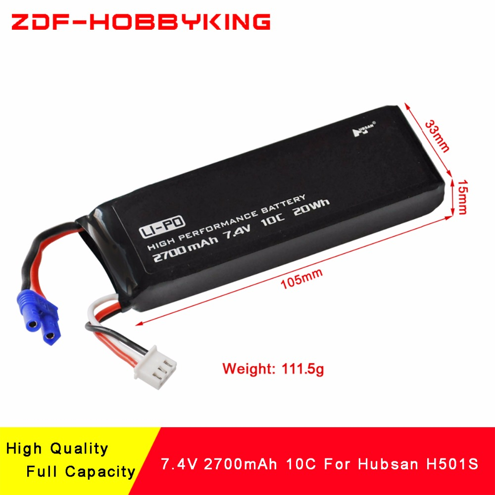 ZDF New Arrived High Quality 2S 2700mAh 7.4V 10C battery for rc quadcopter Hubsan H501S H501C H501A spare parts hubsan h501s x4 rc battery 7 4v 2700mah 10c rechargeable lipo batteies for hubsan h501c quadcopter airplane drone spare parts