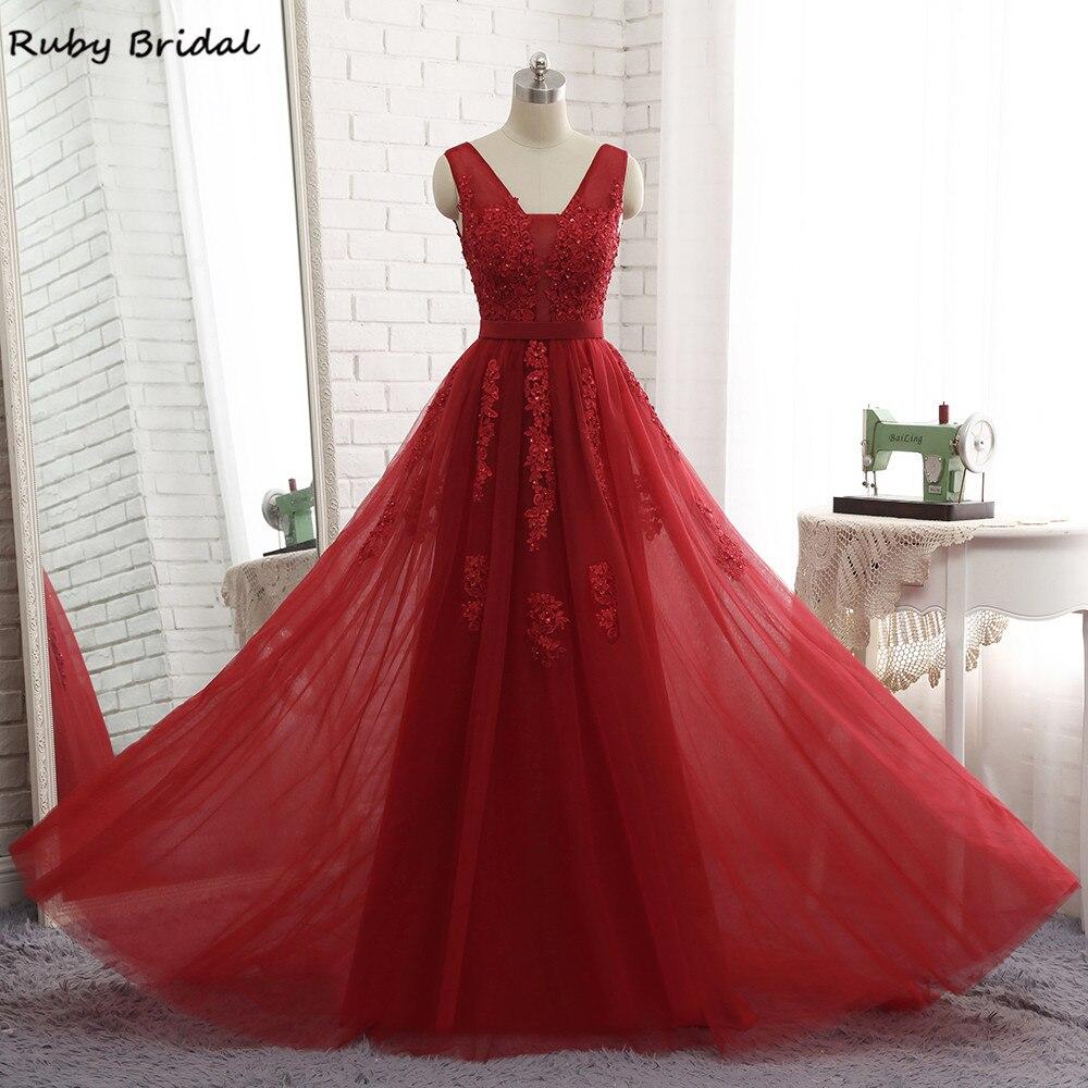 0e762743460 Ruby Bridal 2017 Luxury Long A-line Burgundy Evening Dresses Tulle  Appliques Beaded Vestido De