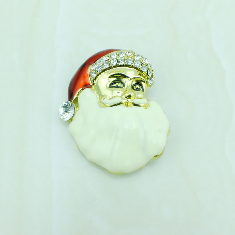 JINGLANG Gold Color Brooches White Rhinestone Enamel Santa Claus Brooches Pins For Men Cloths Decoration Jewelry