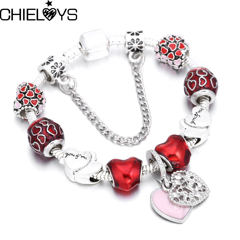 CHIELOYS Heart Pendant Charm bracelet Europe Fashion Glass Beads Pandora Bracelets& Bangles for Women DIY Jewelry Pulseras BA034