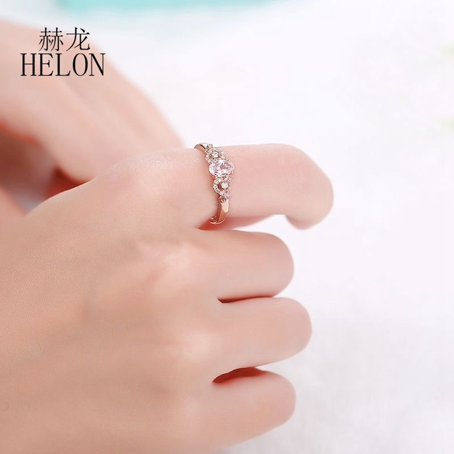 HELON Solid 14k Rose Gold Gemstone Prong Oval Shape 6X4mm Morganite Natural Diamond Beauty Bride Engagement Wedding Fine Ring 4