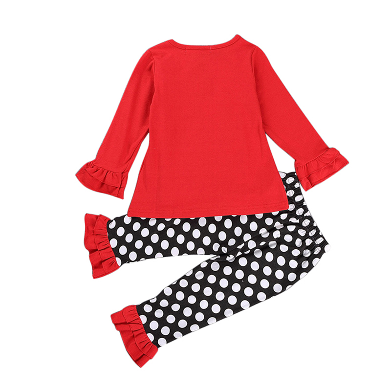 NWAD Baby Girl Deer Clothes Set Christmas Red Clothing Suit For Toddler Girls Lace Long Sleeve T Shirt + Polka Dot Pant FF165