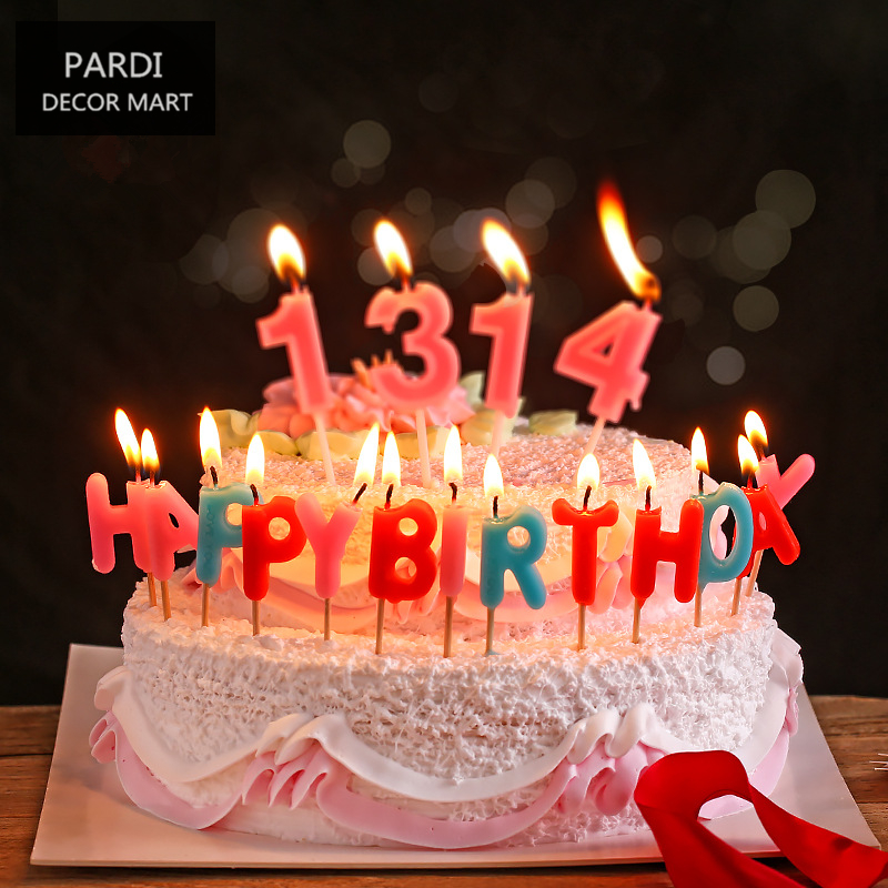 Happy Birthday Candles Cake Decoration Smokeless Letters Candle Party Supplies1pack Lot