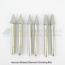 цена на 6pcs Vacuum brazed diamond Grinding bits Mounted points Shank 6mm Carving grinder  Cone type grinding head  #18/19/20