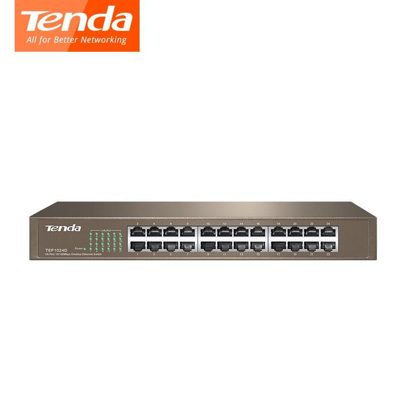 Tenda 24 Порты и разъёмы tef1024d 10/100 м enternet сетевой коммутатор QoS, LACP полный дуплекс VLAN sup Порты и разъёмы Auto MDI/MDI-X, половина/полный дуплекс