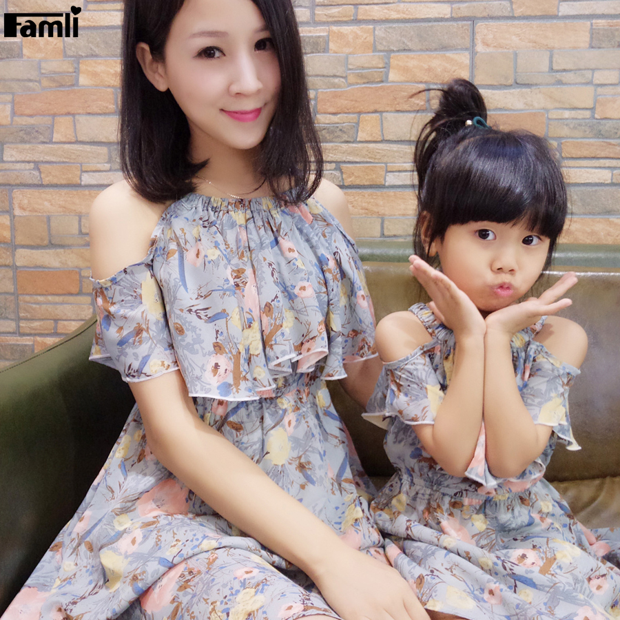 48734413 Famli 1pc Mommy Me Kids Girl Matchy Dress Summer Family Mother Daughter  Fashion Floral Short Sleeve Matching Dresses Outfits