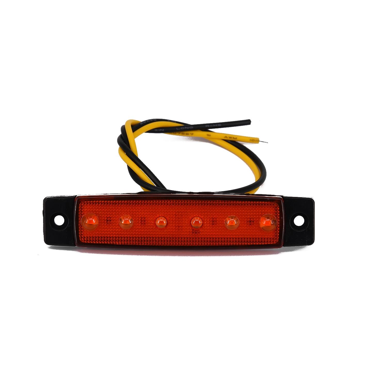 Boat Truck Taillight Lamp Trailer Side Marker Taillight Indicators Light Black+Amber 6 LED