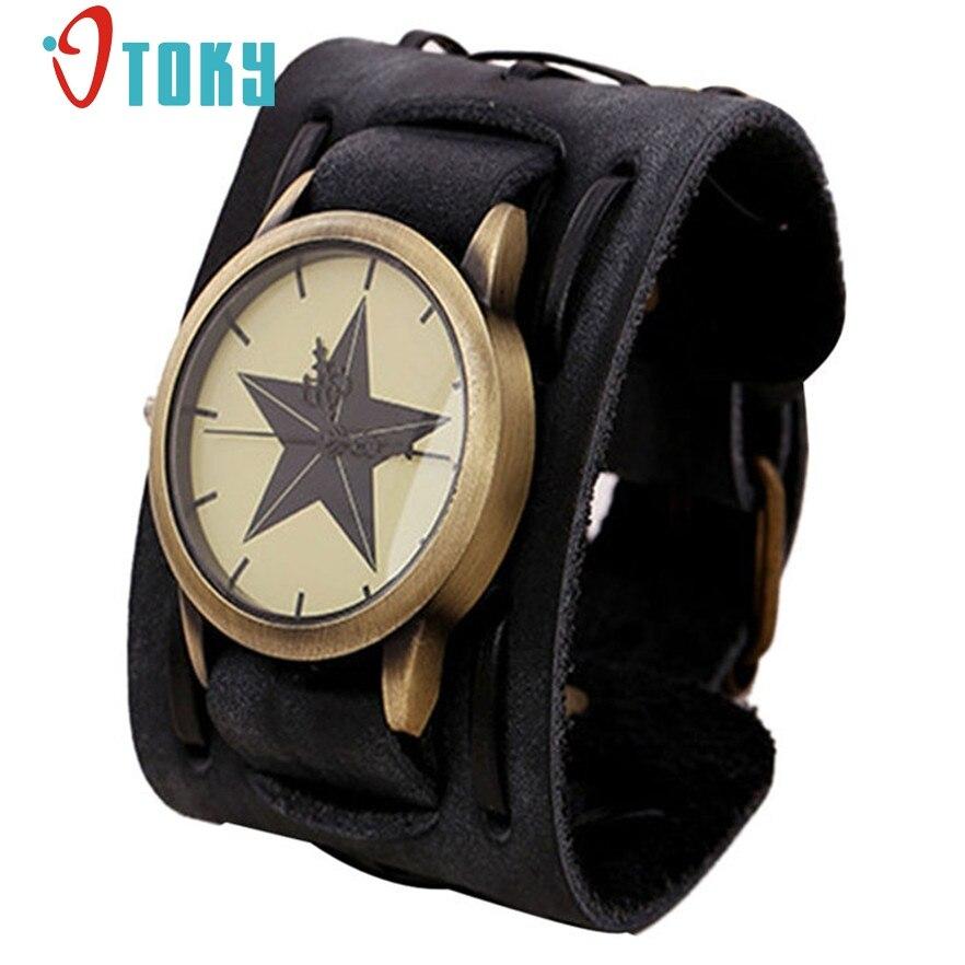 OTOKY Retro Punk Rock Black Brown Big Wide Leather Bracelet Cuff Men Watch Cool Relogio Masculino #40 Gift 1pc