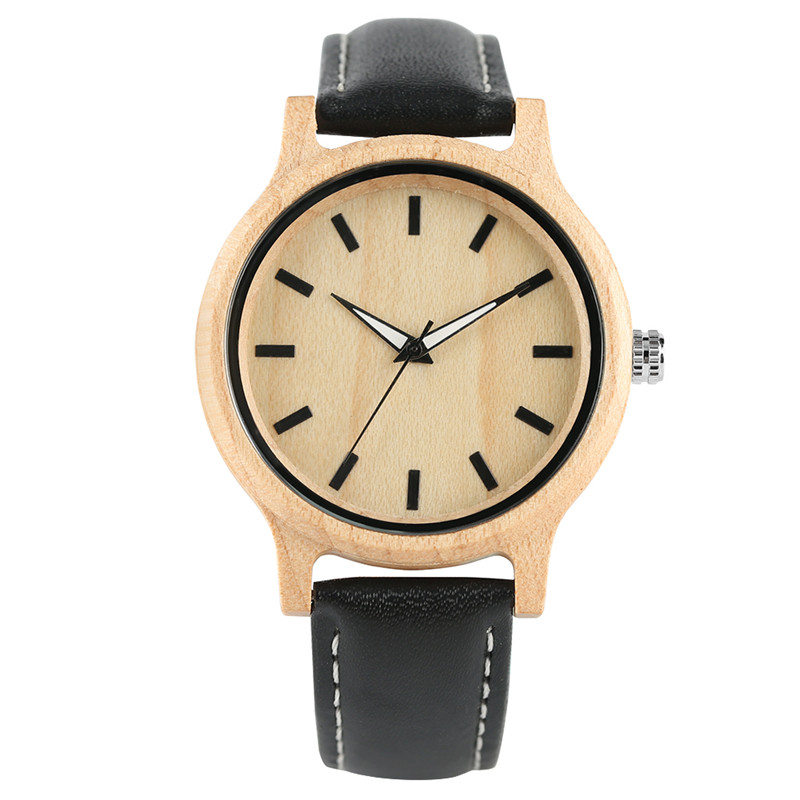 Hand-made Natural Maple Wood Men Quartz Watch Genuine Leather Strap Light Comfortable Simple Wooden Watches Female Best Gift