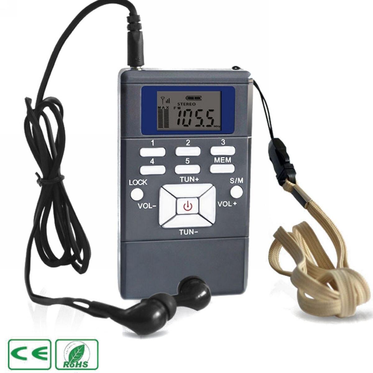 Mayitr 1pc Portable Digital FM Radio Professional Handheld FM Radio Receiver Battery Powered with Earphone