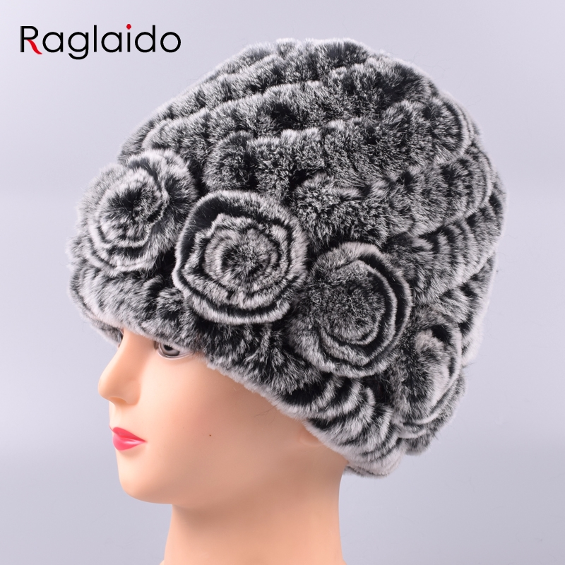 Just Raglaido Women's Hat Winter Real Rabbit Fur Hats Floral Solid Skulls Beanies Hand Knitting Female Snow Capshat For Girl Lq11282 We Take Customers As Our Gods