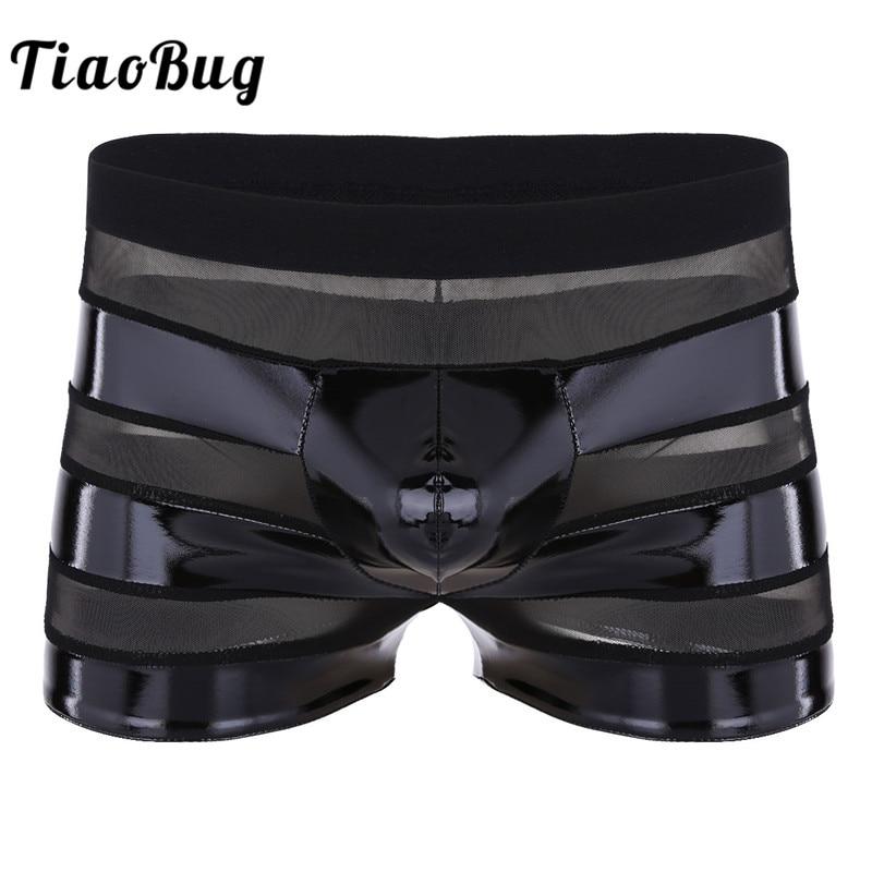 Tiaobug Boxer Sexy Underwear Bulge Pouch Faux-Leather Low-Rise Panties Lingerie Mesh
