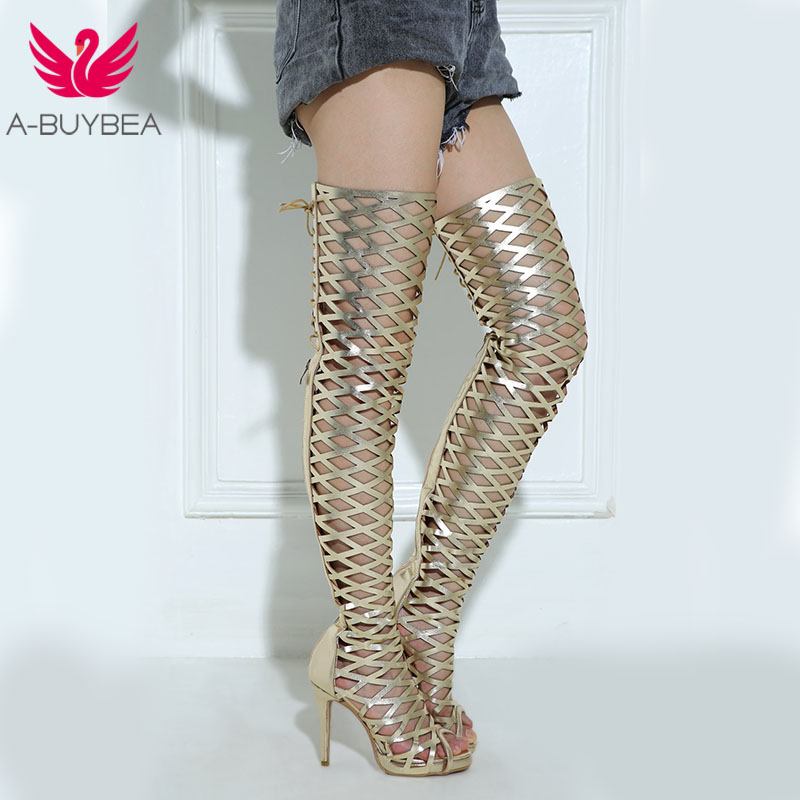 A BUYBEA Sexy Women Over The Knee High Heel Summer Boots Gold Gladiator Hollow Zipper Peep Toe Fashion Nightclub Street Sandals
