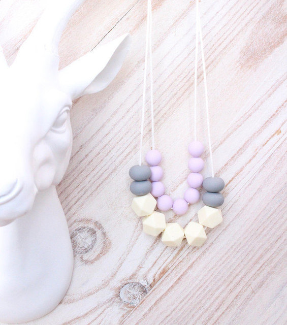 Teething Necklace Baby Teether Silicone BPA Free Santorini Lilac Silicone Natrual Nursing Necklace Pendant Baby Teether
