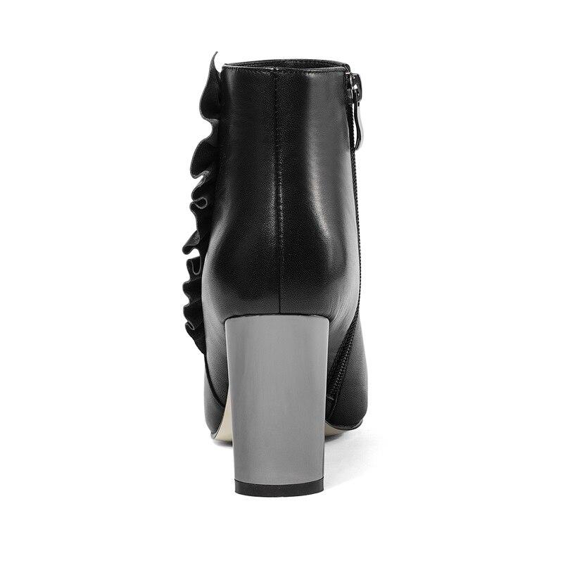 Pointu Chaussons Super Zip Véritable Black En Bout Étrange Cuir Zvq Mode Sexy Haute Hiver Nouvelle Chaussures Femmes Ruches Qualité Style PxZCwpqU