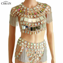 Chran Fringe Chain Festival Costume Crop Top Sequin Rave Outfit Body Jewelry Boho Gypsy Cosplay Wear allover fringe top