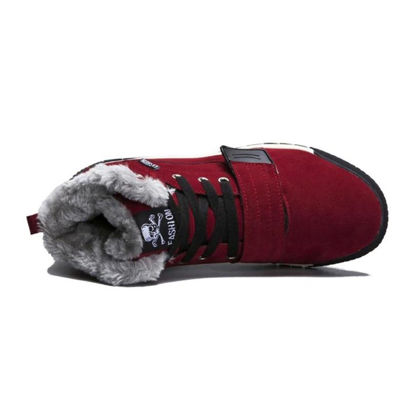 Garniture Cuir Botas En Chaussures Hommes Hiver Automne Bottes Casual bleu Plat Mode Hombre rouge Faible Cheville Chaud Noir Mâle Nieve qR16gE7R