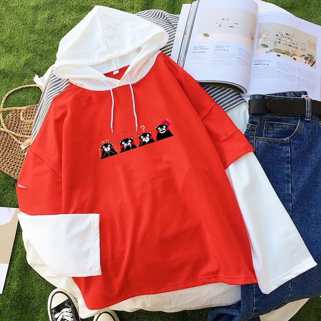 Women Casual Hoodies Kpop BTS Harajuku Kawaii Kumamon Bear Printed Sweatshirt Contrast Color Clothes sudadera mujer Hoodie