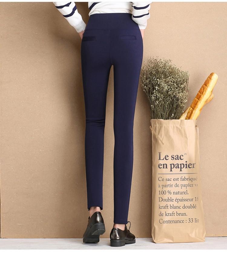 Thicken Warm Plus Velvet Women Trousers 16 Winter Black Red Blue High Waist Stretch Pencil Pants Female Fleece Office Pantalon 14