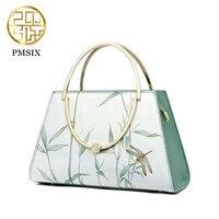 Pmsix Embroidered Flowers Designer Cattle Split Leather Bags Women Handbag Brand High Quality Ladies Shoulder Bags