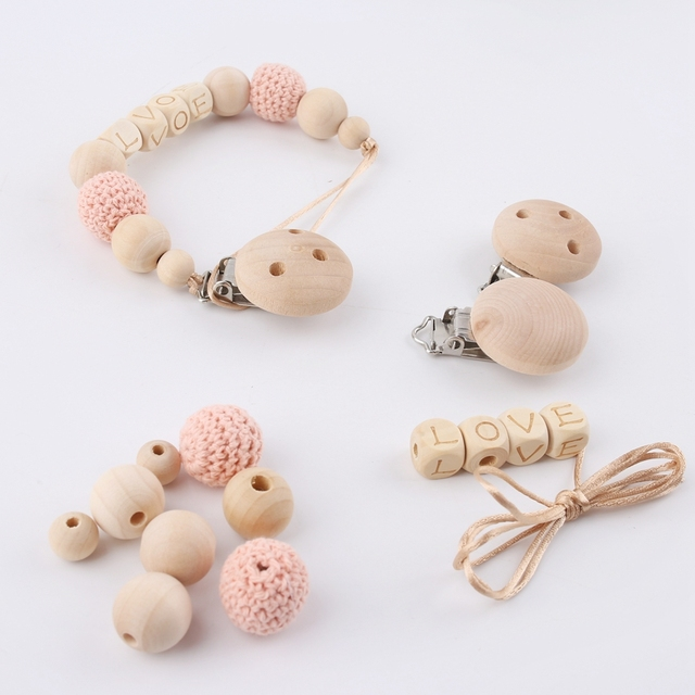 1PC Custom Baby Name Personalised Beads Binky Clip Pacifier Chain Holder Natural Crochet Wood Baby Shower Gift Wooden Teether 4