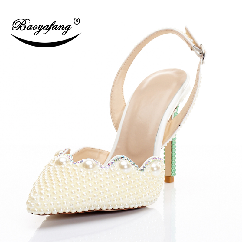 BaoYaFang Pointed Toe Pearl Beads Wedding shoes New design Crystal High Heels Shoes Thin Heel Buckle Bridal Party Dress shoes cinderella high heels crystal wedding shoes 14cm thin heel rhinestone bridal shoes round toe formal occasion prom shoes