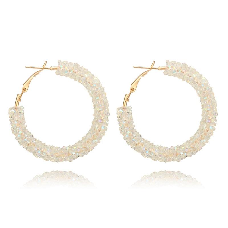 New Simple Circle Earrings All match Metal Full Crystal Shining Hoop Earrings For Women Fashion Wedding Party Earrings Jewelry