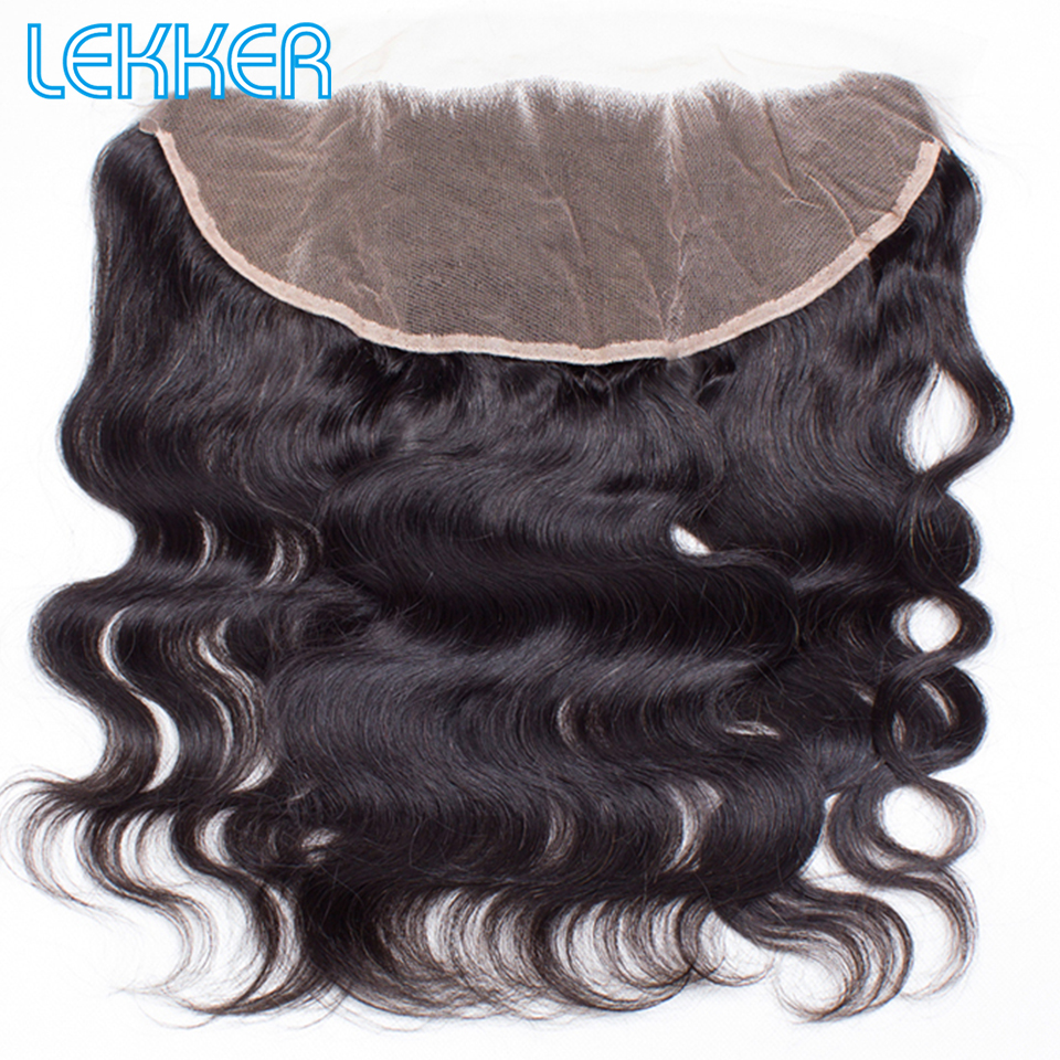 Lekker Body Wave 13X4 Lace Frontal Closure Brazilian Human Hair Natural Color Human Hair Weave Closure With Baby Hair Swiss Lace thumbnail
