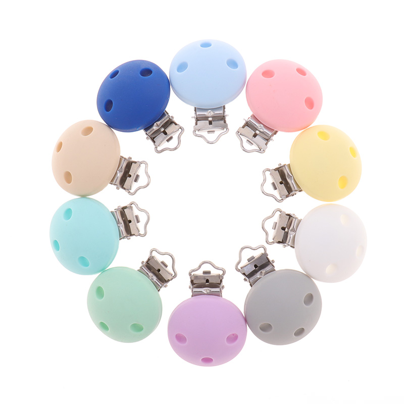 10pcs Round Silicone Clips Bpa Free Baby Teething Teether Necklace Accessories Infant Pacifier Holder Chain Nipple Clasps DIY