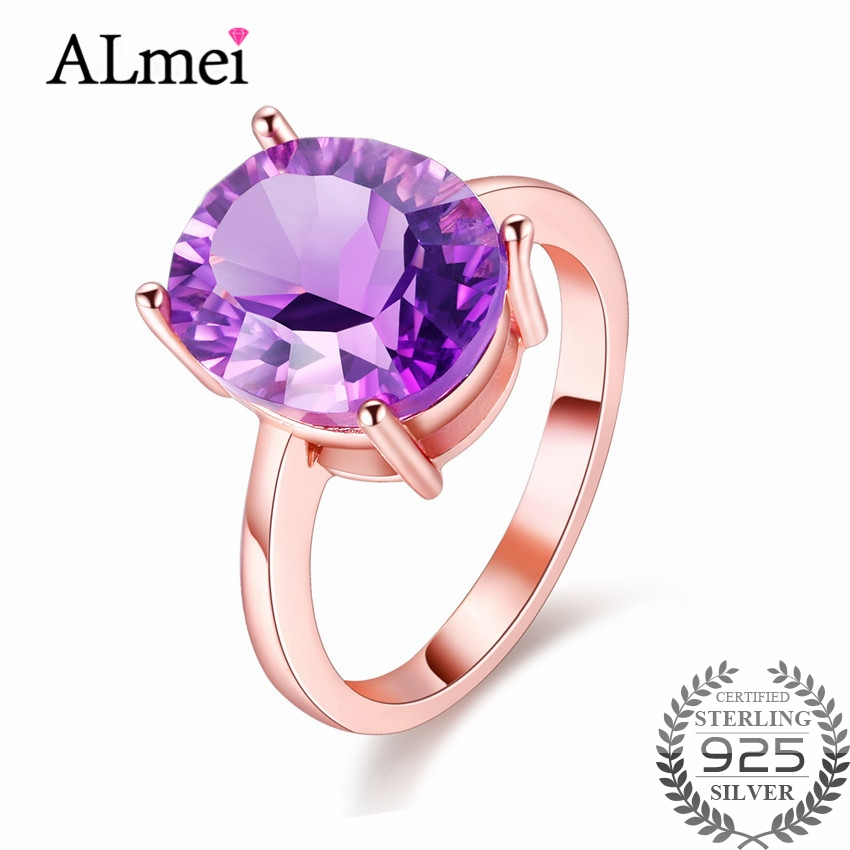 Almei Purple Amethyst Zircon Wedding Rings 925 Sterling Silver Ring Cocktail Vintage Rose Gold Color Jewelry with Box 40% FJ039