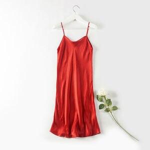Image 3 - Silk SLEEP Dress REAL SILK women sleepwear healthy home dress Slips SALE 2019 Spring Summer new Black RED PINK