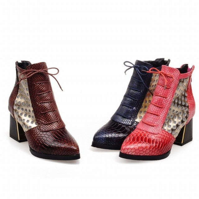 WETKISS Fashion Pointed toe Snake Print Cross tie Ankle Boot Hoof High Heels Short Boots Autumn Boots Shoes Winter Woman Shoe