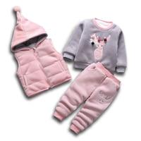 Children Boys Girls Warm Clothes Winter Baby Add Cotton Hooded Vest T shirt Pants 3Pcs/Sets Fashion Kids Cartton Deer Tracksuits