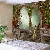 Peacock Arch Beautiful Oil Painting Tapestry Mandala Printed wall hanging Tapestries Boho Wall Carpet LivingRoom Blanket table