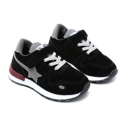 Spring autumn fashion five-pointed star black leather pink casual shoes boys shoes for boys sneakers kids size 22-36