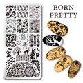 NACIDO PRETTY 12*6 cm Rectángulo Nail Art Stamping Plate Imagen Diseño de la Calabaza de Halloween Placa L057