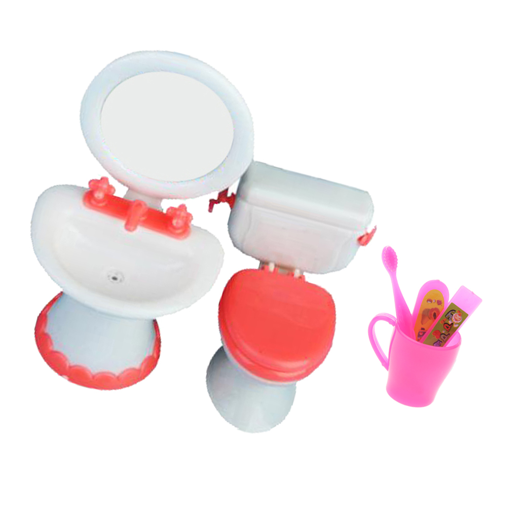 1/6 Scale Miniature Toilet+Sink+Toothbrush Bathroom Furniture For Dolls House Action Figures Accessory Girls Pretend Play Toys