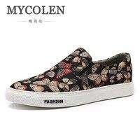 MYCOLEN 2019 сезон: весна лето для мужчин повседневная парусиновая обувь Легкий бренд высокое качество животных печать шить
