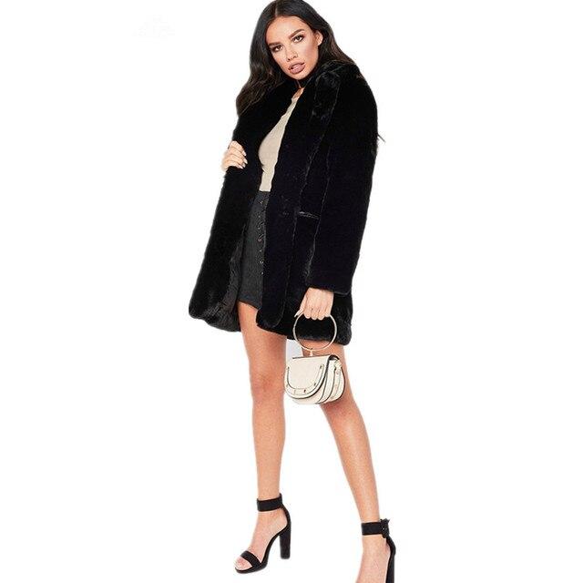 Long Women's Faux Fur Coat Solid Loose Soft Rabbit Fur Coat Hot Sale Casual Coat for Female 8 Color to Choose FF057 4