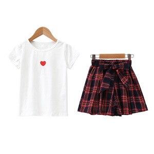 Image 5 - Fashion Teenage Clothes For Girls Clothing 2019 Summer Soft Cotton Tshirt Plaid Skirt Shorts Kids Outfits Suit 2Pcs Children Set
