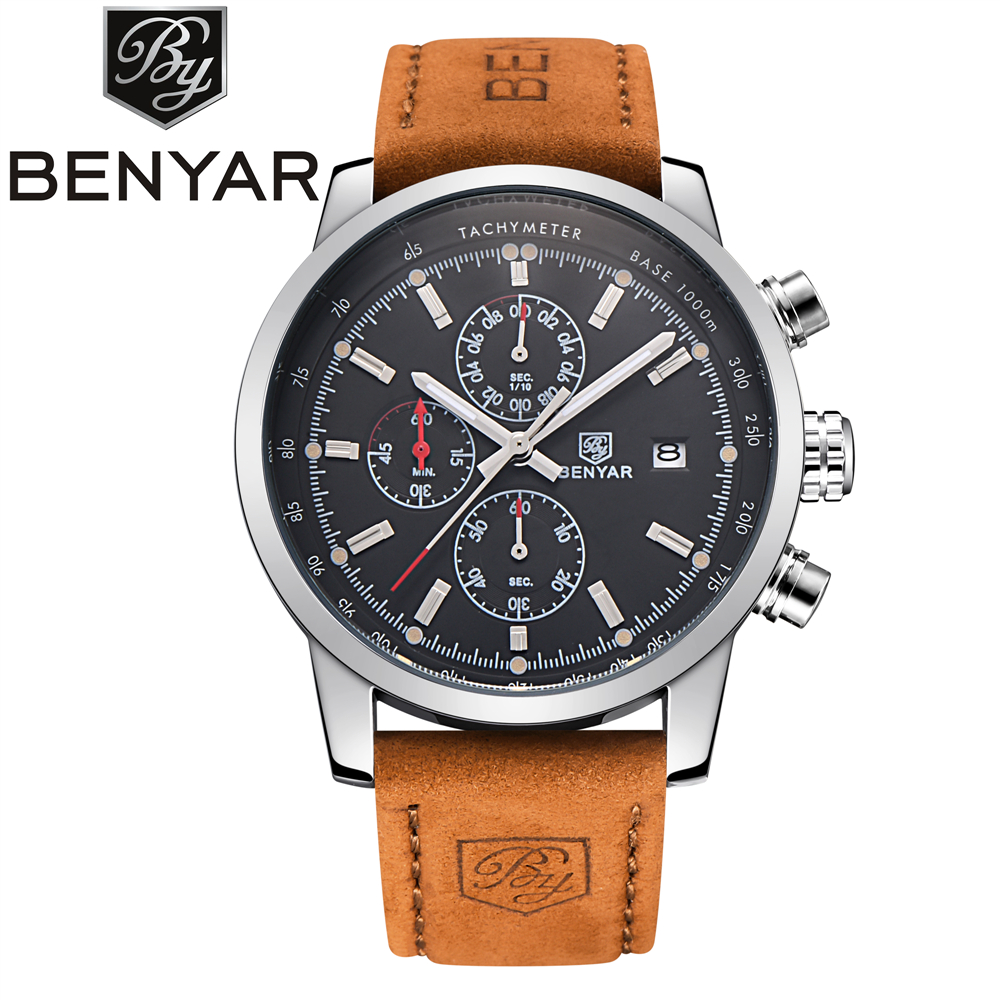 BENYAR Quartz Watch Men Sport Mens Watches Top Brand Luxury Military Quartz Watch Chronograph Waterproof Clock Relogio Masculino casual mens watches top brand luxury men s quartz watch waterproof sport military watches men leather relogio masculino benyar